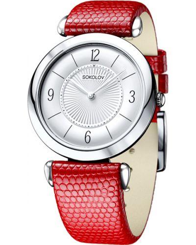 Часы на кожаном ремешке кварцевые серебряные Sokolov