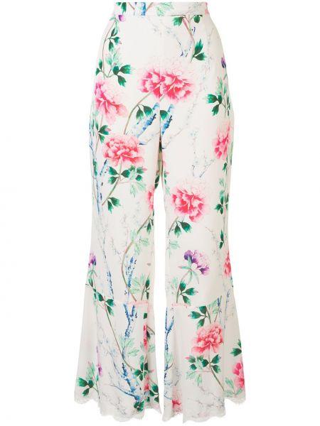 Белые шелковые ажурные расклешенные свободные брюки Andrew Gn