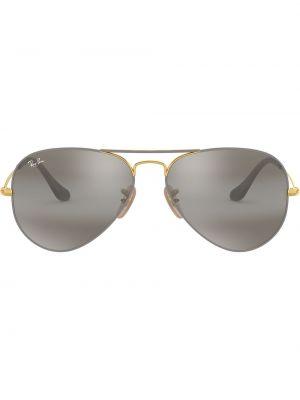 Прямые желтые солнцезащитные очки металлические с завязками Ray-ban