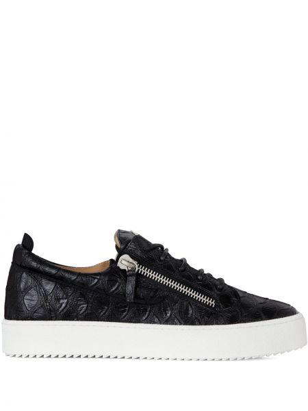 Czarne sneakersy skorzane sznurowane Giuseppe Zanotti