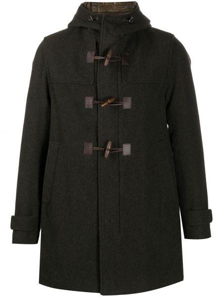 Zielony klasyczny wełniany długi płaszcz z kieszeniami Herno