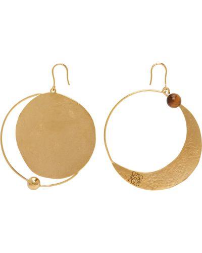 Brązowe złote kolczyki sztyfty asymetryczne Loewe