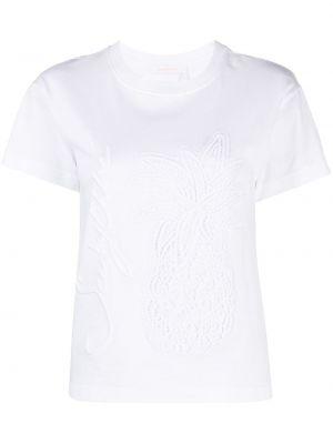 С рукавами белая футболка с вышивкой See By Chloé