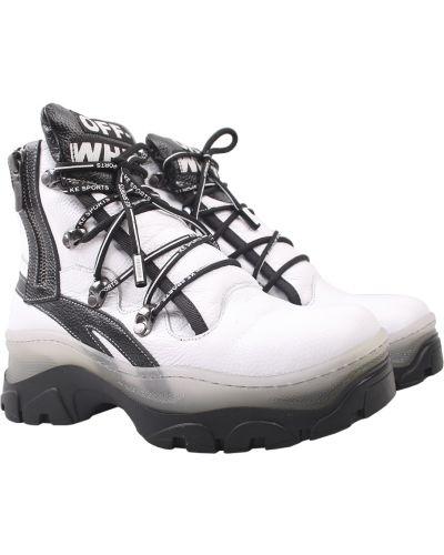 Кожаные ботинки - белые Aquamarin