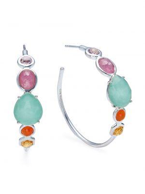 Серьги-кольца золотые с камнями Ippolita