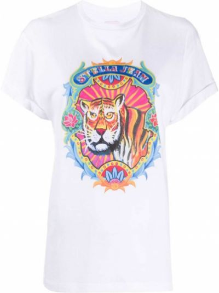 Хлопковая белая прямая футболка с круглым вырезом Stella Jean