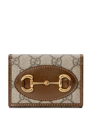 Brezentowy portfel złoto z gniazdem Gucci