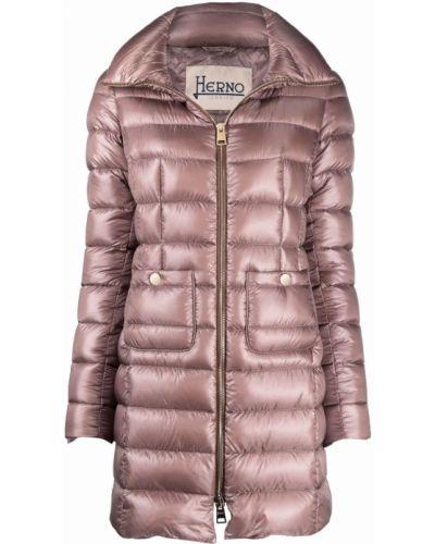 Розовое пуховое пальто Herno