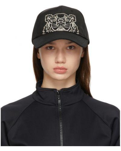 Czarna czapka z haftem z nylonu Kenzo
