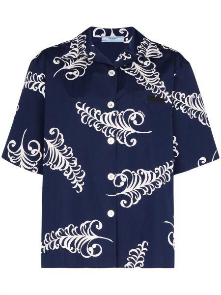 Niebieska koszula krótki rękaw bawełniana Prada