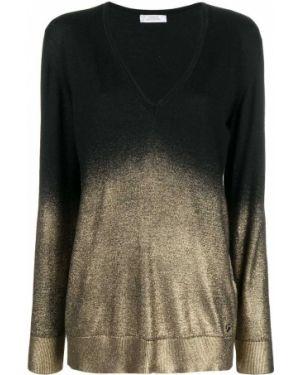 Облегченная черный свитер в рубчик с вырезом Versace Collection
