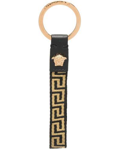 Черный брелок металлический с декоративной отделкой Versace