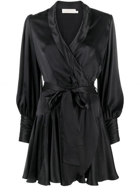 Шелковое с рукавами черное платье мини Zimmermann
