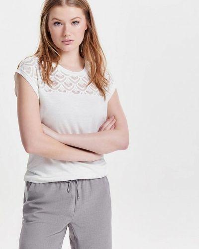 Белая блузка с коротким рукавом Only