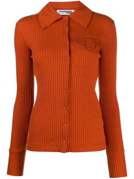 Персиковая рубашка с воротником с карманами с заплатками Courrèges