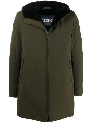 Zielony długi płaszcz z długimi rękawami z kapturem przycięte Herno