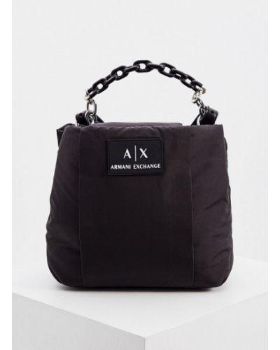 Текстильная черная сумка через плечо Armani Exchange