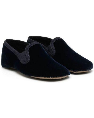 Синие бархатные лоферы на шнуровке Pèpè