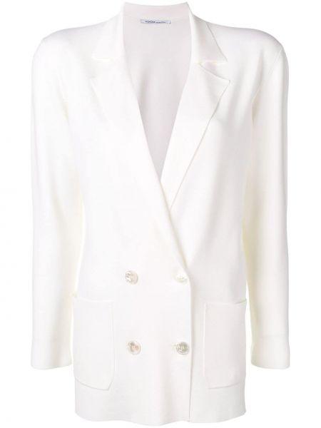 Белый пиджак двубортный с карманами Agnona