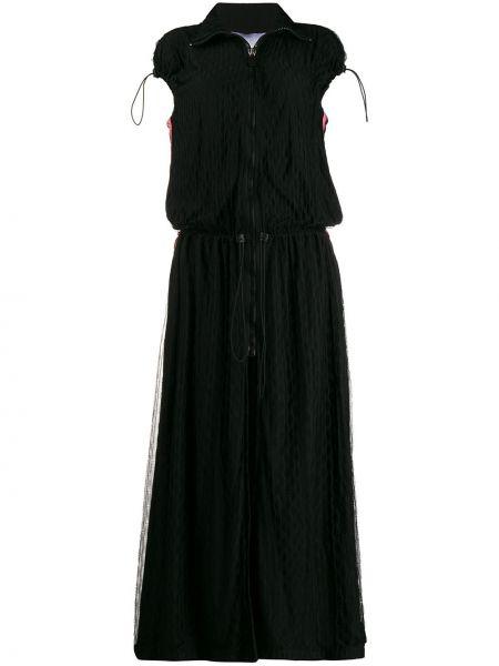 С рукавами черное платье мини в полоску No Ka 'oi