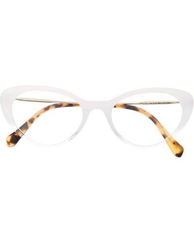 Золотистые очки кошачий глаз металлические хаки Miu Miu Eyewear
