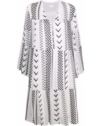 Белое платье миди трапеция с вырезом Lala Berlin
