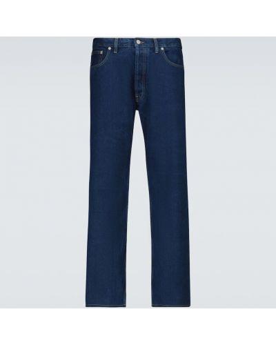 Хлопковые синие прямые укороченные джинсы Maison Margiela