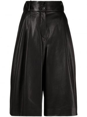 Плиссированные кожаные черные кюлоты Dolce & Gabbana