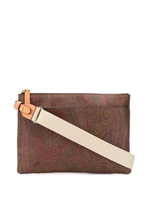 Кожаная красная сумка на плечо на молнии с карманами Etro