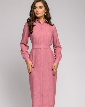 Повседневное платье на пуговицах с поясом 1001 Dress