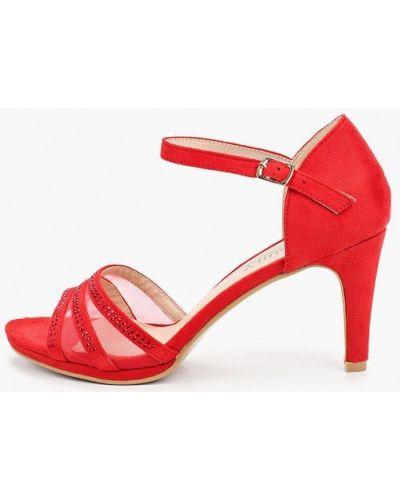Красные кожаные босоножки Exquily