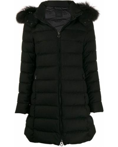 Черное длинное пальто с капюшоном Tatras