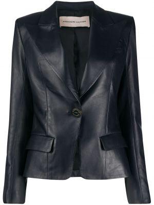 Приталенный синий кожаный пиджак Alexandre Vauthier