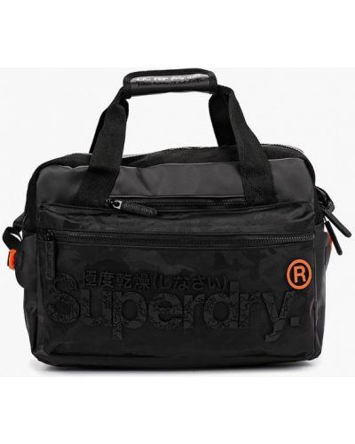 Сумка через плечо текстильная черная Superdry
