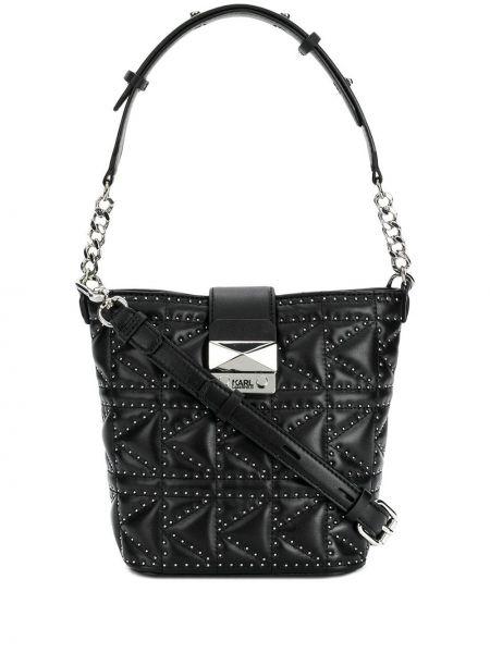 Кожаная сумка на цепочке с заклепками Karl Lagerfeld