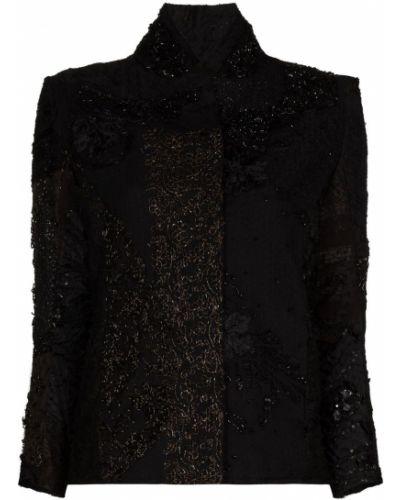 Шелковая черная куртка с вышивкой By Walid