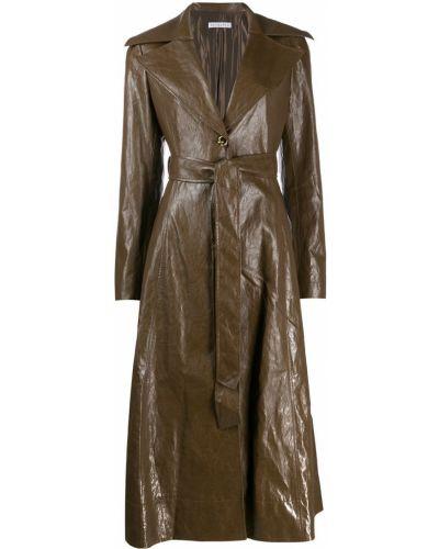 Коралловое прямое длинное пальто с поясом Rejina Pyo