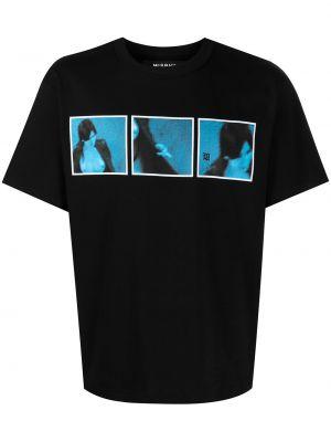 Czarny t-shirt bawełniany z printem Misbhv