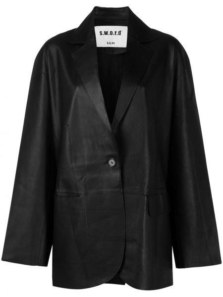 Черный кожаный пиджак оверсайз S.w.o.r.d 6.6.44