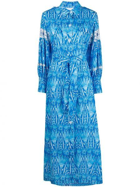 С рукавами синее платье макси с воротником Ava Adore