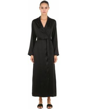 Шелковый халат - черный La Perla