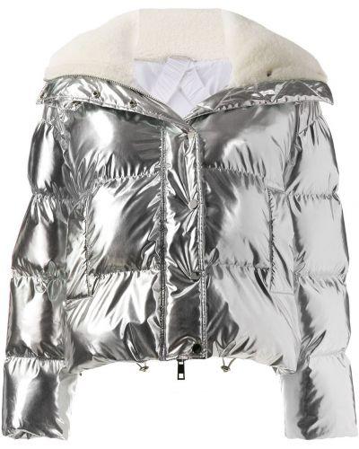 Длинная куртка стеганая серебряная P.a.r.o.s.h.