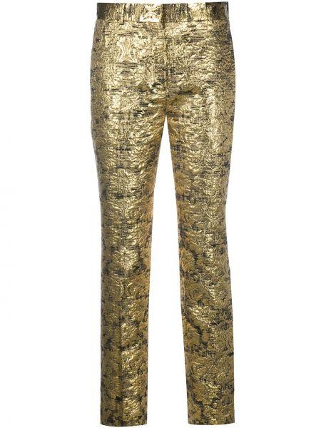 Шелковые брюки золотые с карманами узкого кроя Mulberry