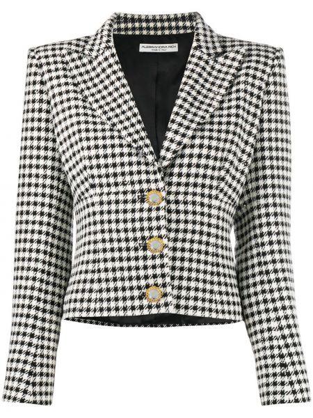 Шерстяной белый удлиненный пиджак на пуговицах Alessandra Rich