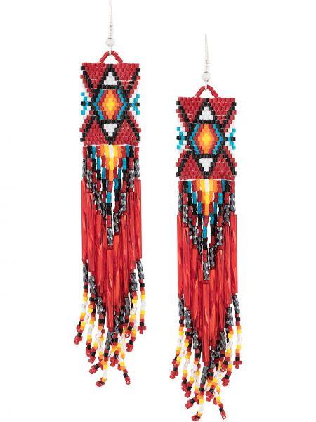 Красные серьги с бисером с подвесками на крючках Jessie Western