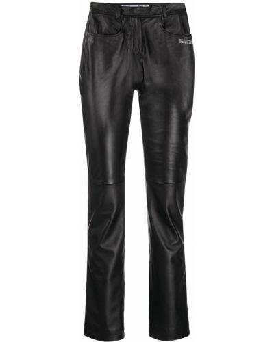 Кожаные черные укороченные брюки с накладными карманами Off-white