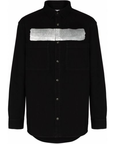 Czarna koszula jeansowa bawełniana z długimi rękawami Givenchy