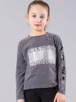 Brokatowa bluzka - szara Fashionhunters