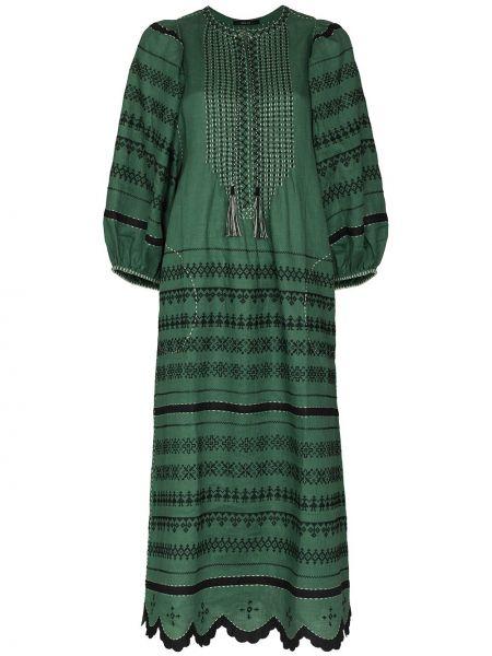 Льняное зеленое платье с вышивкой Vita Kin