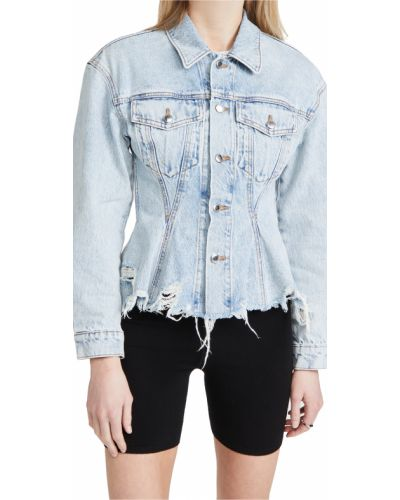 Ватная синяя джинсовая куртка с карманами Denim X Alexander Wang